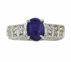 Natural Tanzanite Oval Gemstone Designer 925 Sterling Silver Ring Sz 7 S... - £32.80 GBP