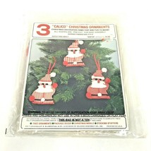 Christmas Ornaments Kit Santa Felt Originals Calico Vintage - $11.87