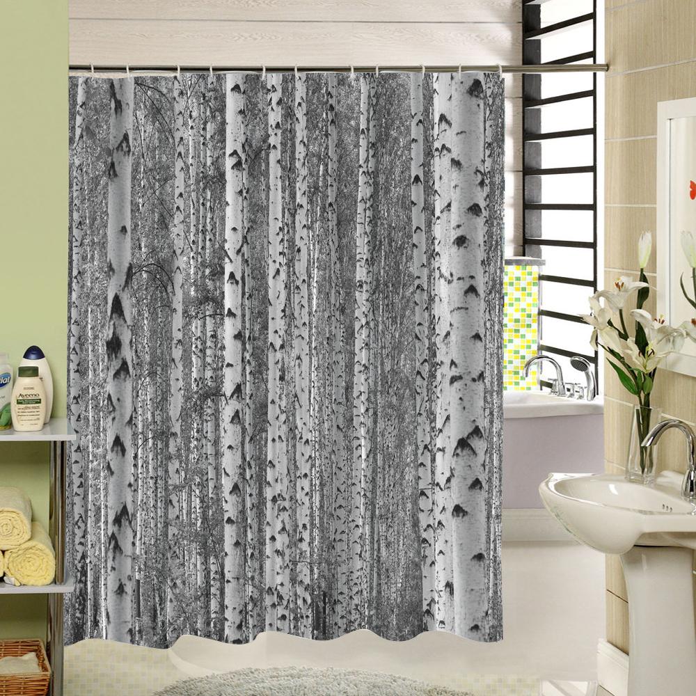SPA Waterproof Shower Curtain Bathroom Decor Jasmine Flower Decorations Green Ba