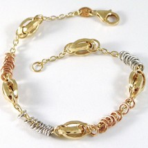 Bracelet Yellow White Rose Gold 18K 750, Circles, Oval Machined, Italy Made - $566.13