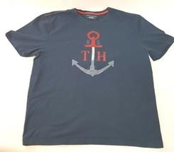 Men's Tommy Hilfiger T-shirt Navy Blue Red Gray Anchor 85 XL 100% Cotton  - $18.49