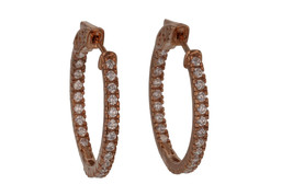 Sterling Silver Rose Gold Plated CZ Hoop Earrings L20726 - $61.00