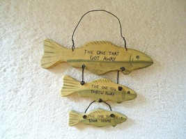 "Vintage ? Ohio Wholesale Wall Hanging 3 Tiered Fish Shaped Plaque "" MAN ... - $19.99"
