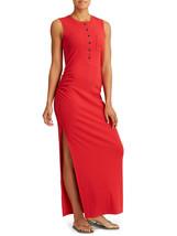 New Womens NWT $108 Athleta Dress Red XL Henley Maxi Tank Sleeveless Rib... - $108.00