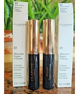 2 x Clarins MASCARA SUPRA VOLUME Intense Color BLACK 01 ~ 0.1 oz TRAVEL ... - $11.28