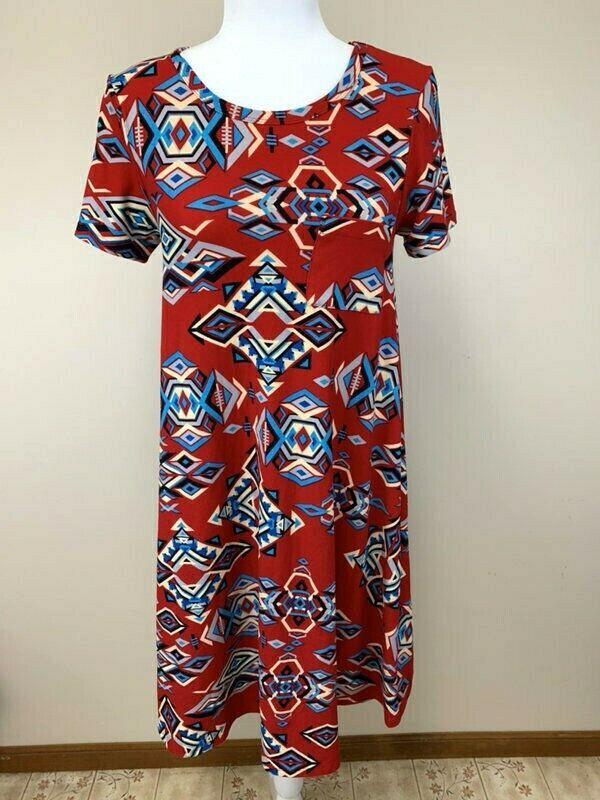 2a956b9e2bfef Lularoe XXS Southwestern Diamond Red Blue Tan Carly Dress Leggings Material  - $22.99