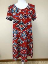 Lularoe XXS Southwestern Diamond Red Blue Tan Carly Dress Leggings Material - $22.99