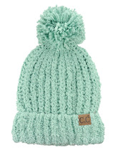New! C.C Women's Chenille Soft Stretchy Pom Cuffed Knit CC Beanie Cap Hat - $13.99