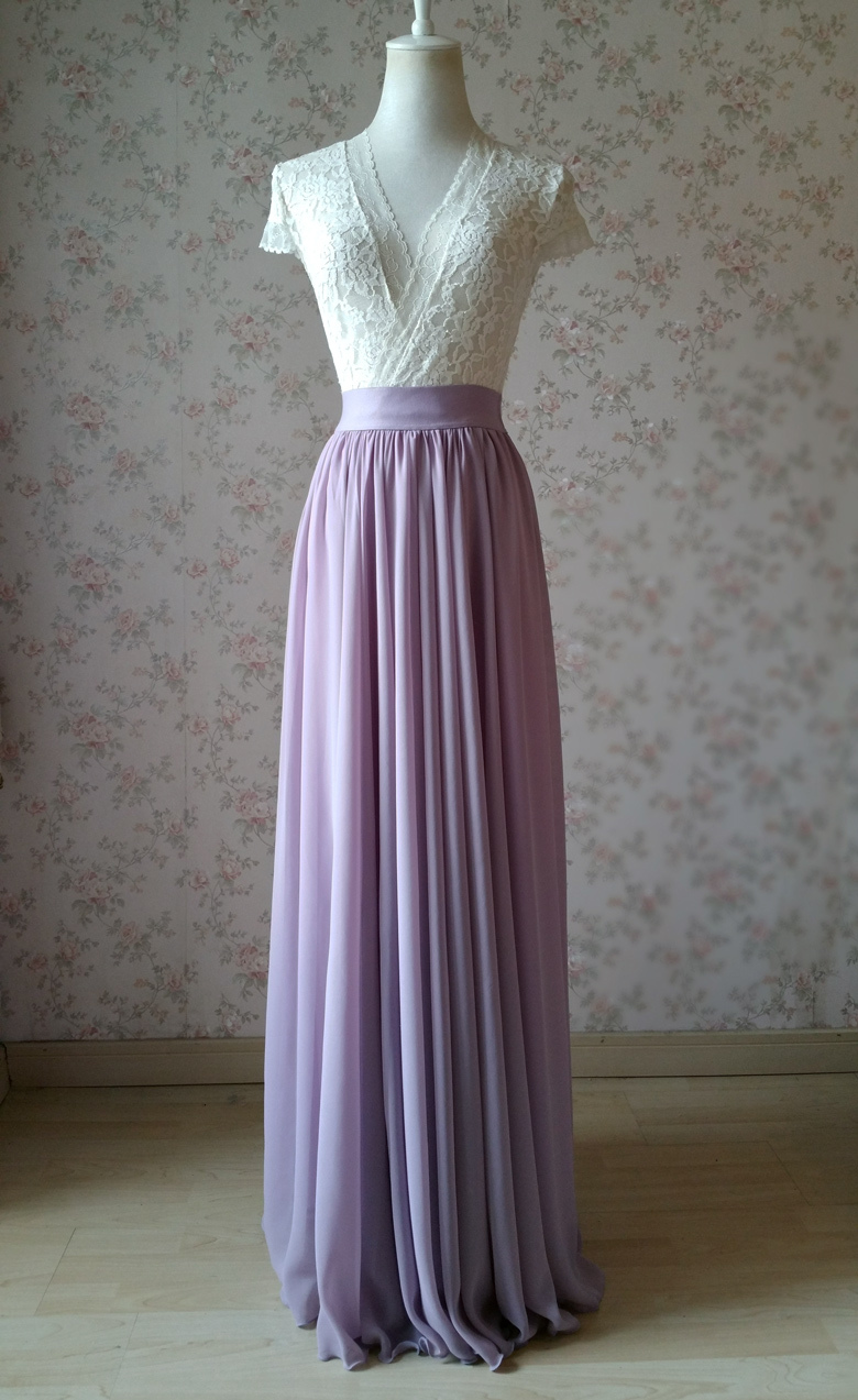Chiffon maxi skirt wedding lavender 780 4