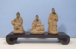Vintage Rare Bonsai Mudman Statues 3 Scholars Penjing Bonsai Tree mid 19... - $38.00