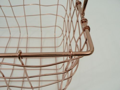 Shiny Copper Wire Woven  Storage Basket w Handles Organizer Bright Metal Bin