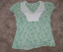 Banana Republic Green Tropical Eyelet Top Size Small ek - $8.00