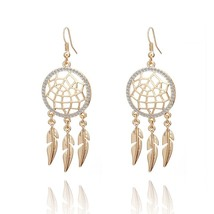 Gold Silver Tassels Dream Catcher Earrings Long Feather Vintage Crystal ... - $16.97