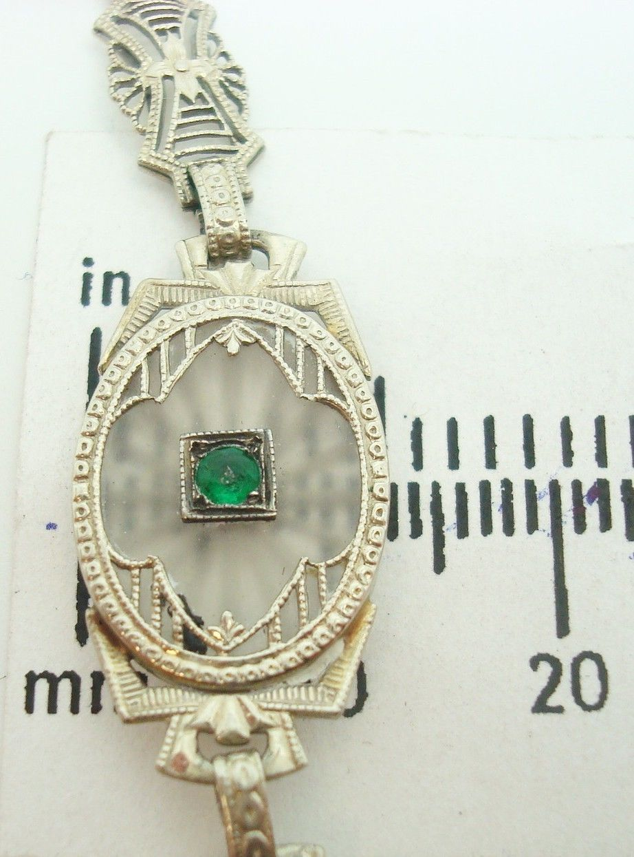 Filigree 14k Gold Camphor / Rock Crystal Bracelet w/Diamonds & Emeralds (#C2160)