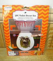 2 pc Bloody SKELETON SKULL TOILET COVER Bathroom Halloween Decoration - £4.54 GBP