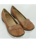 Hush Puppies 'Euro' brown leather round toe pleasted button loafer flats... - $31.43