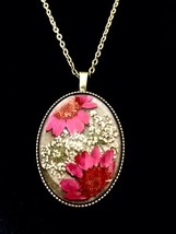 Handmade Floral Necklace, Natural Real Dried Flower Pendant Necklace Pink - $14.84