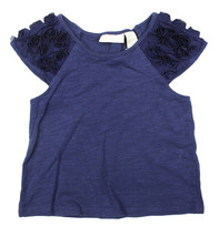 First Impressions New Infant Girls Rosette Sleeve Blue T Shirt Tee 24M - $9.89