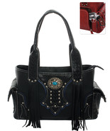 Ornate Western Fringe Concho Handbag Concealed Gun Pocket Purse Black - $49.49