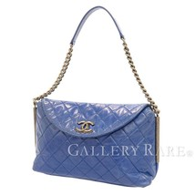 CHANEL Single Chain Shoulder Bag Leather Blue Matelasse CC Italy Authentic