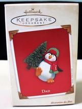 Hallmark Keepsake Christmas Ornament Penguin Dad Carrying Tree 2003 LNIB - $14.25