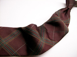 JACOB ROBERTS  Burgundy.Green PLAID  Mens 100 SILK Necktie 47 6 - $17.99