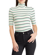 Ralph Lauren Womens Black & Green Striped Elbow Sleeve Turtleneck Top Si... - $24.74