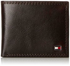 Tommy Hilfiger Men's Premium Leather Wallet Double Billfold Chocolate 31TL13X051 image 1