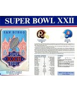 Super Bowl 22 Patch and Game Details Card - $34.60