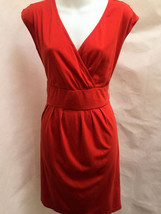 Ann Taylor Loft M Dress Orange V Neck Empire Waist Smocked Back - $19.58