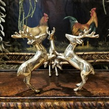Vintage Hollywood Regency Solid Brass Deer Pedestal Candle Holder Center... - $79.95