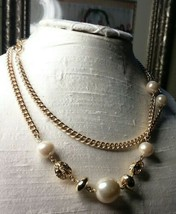 Vintage Jewelry Lot: Lovely Gold Tone Necklace W/Faux Pearls 2016032919 - $8.90