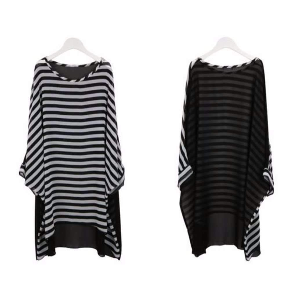 Oversized Stripes Chiffon Women Swimwear Cover Up