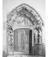 SPAIN Portal of  Burgos Cathedral- SUPERB 1843 Lithograph Print - $31.50