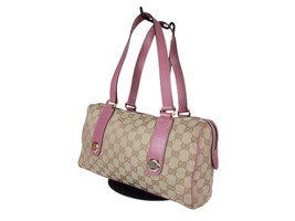 Authentic GUCCI GG Pattern Canvas Leather Pink Shoulder Bag GS2022 - $239.00