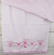 Vintage Shabby CROSS STITCHED Chic Crocheted PINK Cotton Pillow Cases Ca... - $16.40