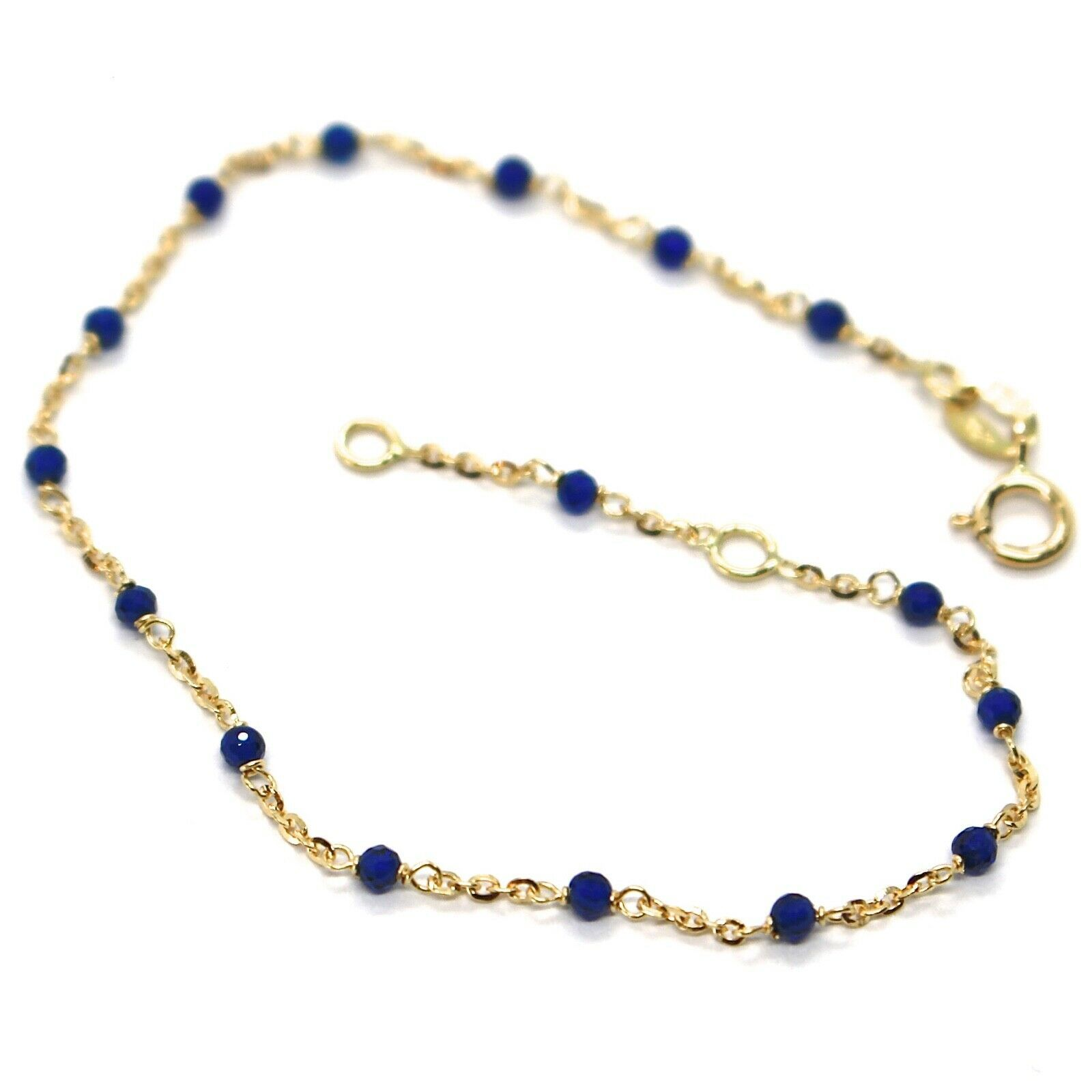 18K YELLOW GOLD BRACELET, BLUE FACETED CUBIC ZIRCONIA, ROLO CHAIN, 6.9 INCHES