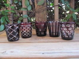"""Cut to Clear~Ruby~Crystal~3¼"""" Tumblers~Five - $38.69"""