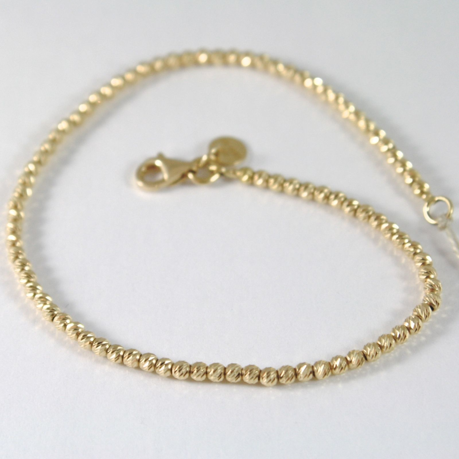 BRACELET YELLOW GOLD 750 18K WITH BEADS, SPHERES FACETED, 19 CM LENGTH