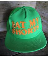 "80s 90s Vintage ""EAT MY SHORTS"" Retro Neon Green Snapback Trucker Hat Ca... - $38.69"