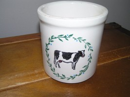 Estate Heavy White Stoneware or Pottery Utensil Crock with Dairy Cow Pai... - $13.99