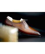 Luxury Two Tone Brogue Shoes, Men's Handmade Leather Lace Up Wedding Shoes - $158.99