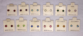 Earrings Studs Crystal Birthstone Gold Tone Metal 5 mm Birthday Vintage USA - $7.59