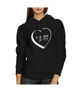 Feeling Empty Heart Unisex Black Hoodie Letter Printed Cute Design - $25.99+