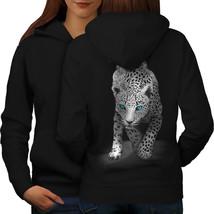 Panther Blue Eyes Animal Sweatshirt Hoody Big Cat Fun Women Hoodie Back - $21.99+