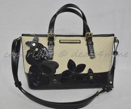 NWT Brahmin Mini Asher Satchel/Shoulder Bag in Black Miramonte-Cream with Black image 2