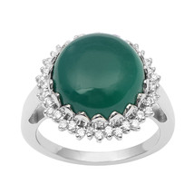 Green Onyx  With Cubic Zirconia Gemstone 925 Silver  Ring Sz 8 SHRI1002 - $11.08