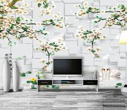 3D Schwan, Wasser Blumen 203 Fototapeten Wandbild Fototapete BildTapete Familie - $52.21+