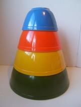 Pyrex Reverse Primary 4PC Nesting Mixing Bowls 401-404 Green Yellow Orange Blue - $115.29