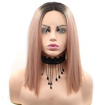 BESTUNG Pink Lace Front Wigs Straight Short Bob Wig 2 Tone Middle Partin... - $36.26